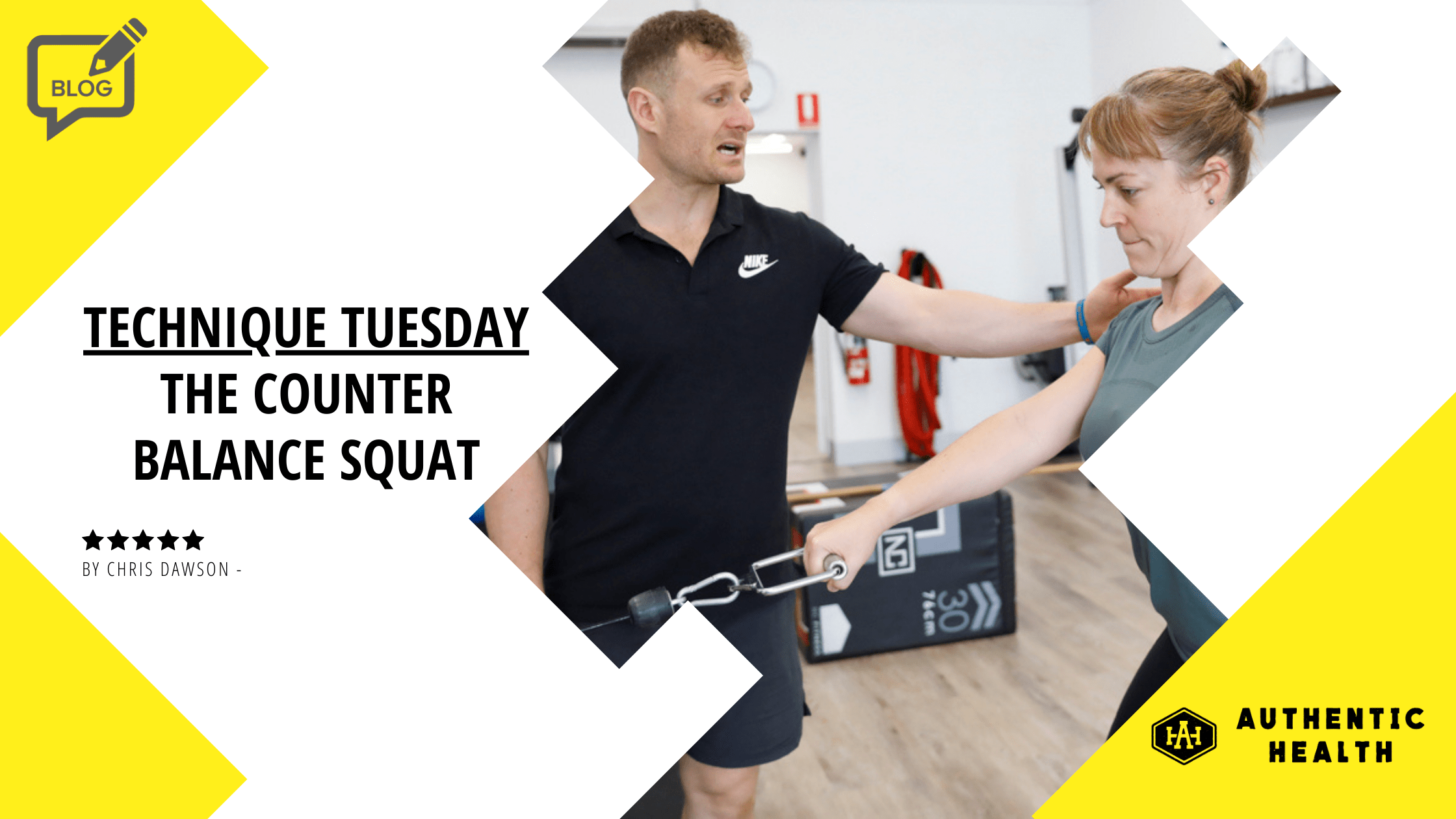 Technique Tuesday -Woman does Counter Balance Squat with trainer